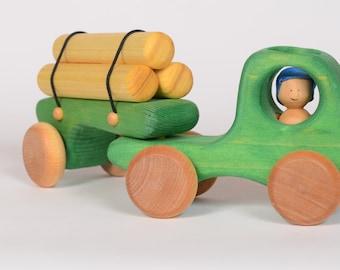 Green Logging truck, wooden truck by Atelier Cheval de bois