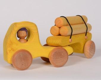 Yellow wooden logging truck, wooden truck, truck by l'Atelier Cheval de bois