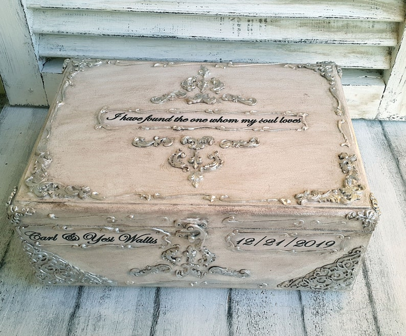 Ivory silver wooden wedding card box,Silver vintage baroque  ornaments,Personalization-the names and the wedding date  Ivory silver card  box