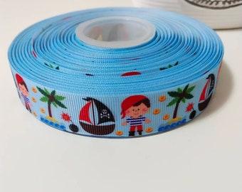 "jake neverland pirates grosgrain ribbon 1/"" per 1 m hair scrapbooking card making"