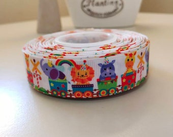 "train animals baby grosgrain ribbon 7//8/"" per 1 m hair scrapbooking card making"