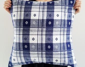 Flannel Pillow - Plaid Pillow - Winter Decor - Blue Pillow - Hygge - Blue Plaid