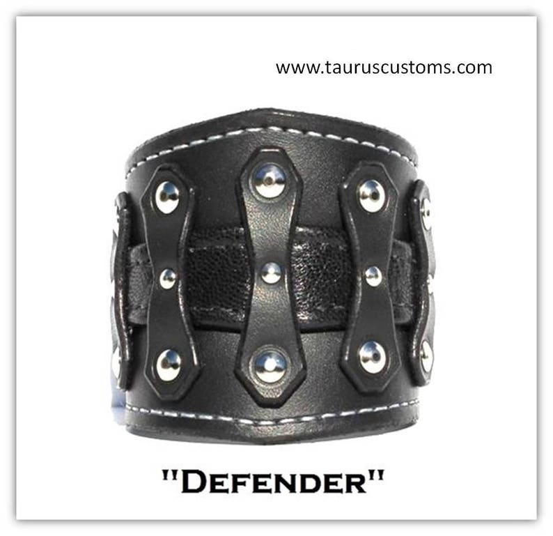 Black Leather Cuff Bracelet Mens Cuff Bracelet with Chrome Rivets and Color Leather Insert Bikers Leather Cuff Custom Mens Wristband