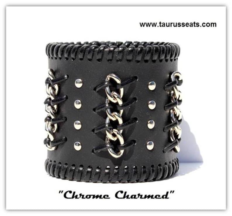 Black leather bracelet cuff custom mens wristband bikers image 0