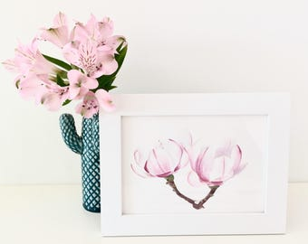 Delicate Magnolias - Framed watercolor painting