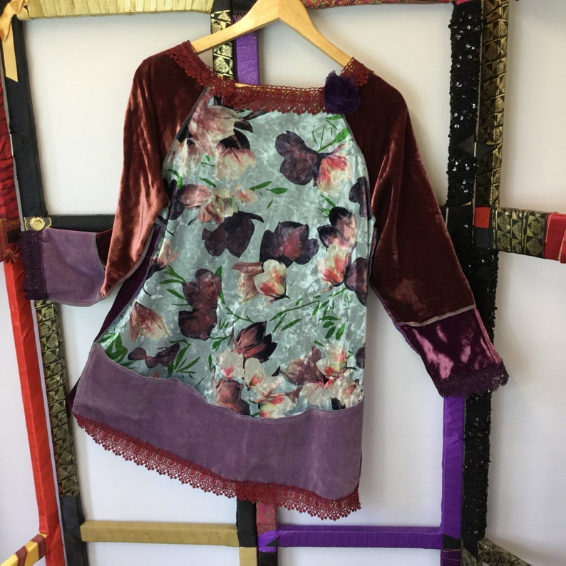 Lagenlook Top Patchwork Top Festival T Shirt Hand sewn T Shirt Unusual Unique Velvet Large Tunic Large T Shirt Purple Velvet Tunic