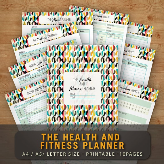 fitness planner organizer printable health journal workout log etsy