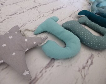 Name banner baby, toddler fabric - blue, star.