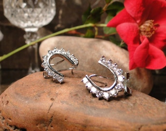 Sterling Silver Horse Shoe Earrings with sparkling CZ