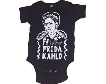 "Frida Kahlo Feminist Onesie: w/ 9x12"" Screen Print Gift Set"