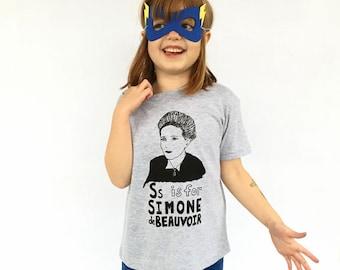 Feminist Kids Shirt: S is for Simone de Beauvoir w/ 9x12 Screen Print Gift Set