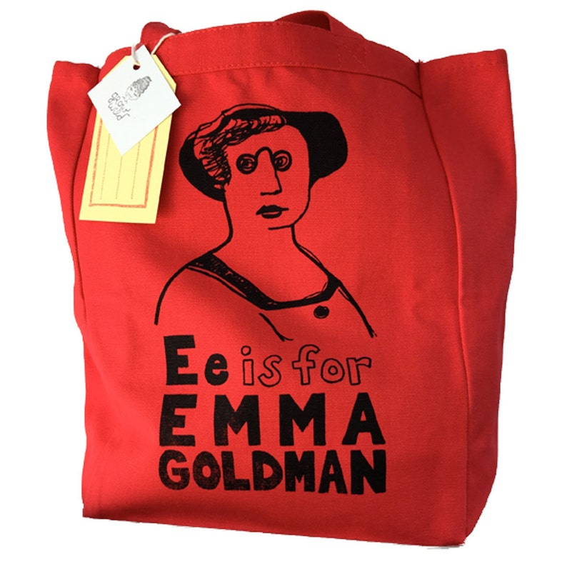 Feminist Canvas Tote Bag: Emma Goldman Feminist Screenprint image 0