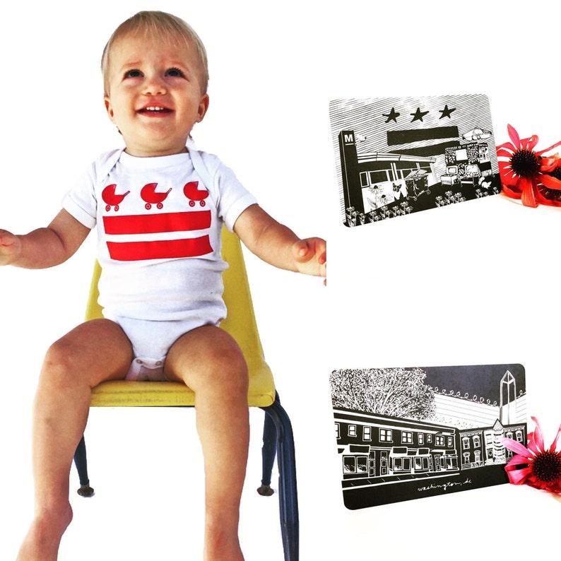 Washington DC Baby Onesie Gift Set w/ 4x6 DC Postcards  image 0