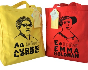 Feminist Tote Bag Sale // 15% OFF Set of 2: Gift Pack- choose 2 - FREE SHIPPING // Audre Lorde, Simone de Beauvoir,