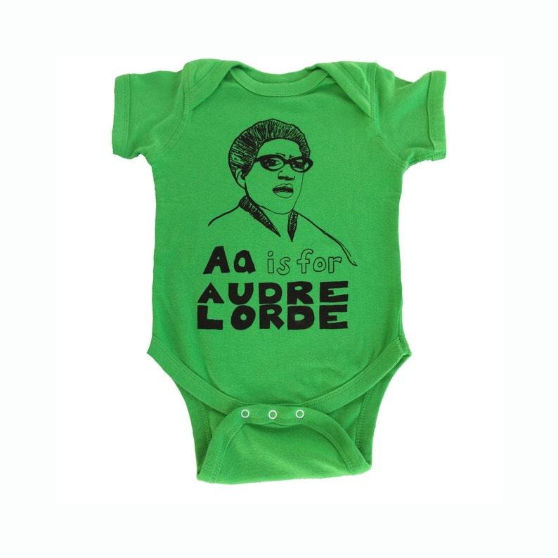 Feminist Onesie: AUDRE LORDE Baby Onesie & Screen Print Gift Green