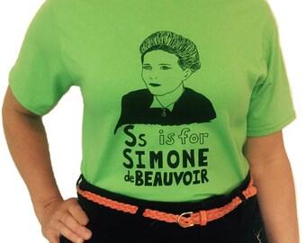 Feminist Shirt : Simone de Beauvoir w/ 9x12 Screen Print; Feminist Gift Set