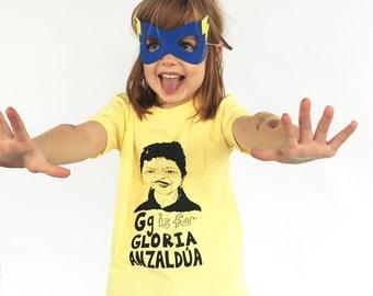 Feminist Kids Shirt: G is for Gloria Anzaldua Chicana Kids Shirt & Screenprint Gift Set
