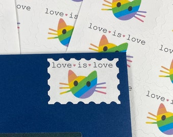 Love is Love Rainbow Cat Faux Stamps -Artist Stamps -  Artistamps - Happy Mail Stickers - Rainbow Stickers - Rainbow Stamps