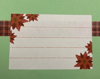 Poinsettia Address Labels SELF ADHESIVE - Winter Labels - Christmas Address Labels - Gift Tags