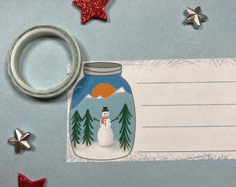 Snowman Mason Jar Address Labels SELF ADHESIVE - Winter Labels - Christmas Address Labels - Gift Tags