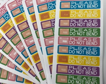 """COLORFUL """"Please Do Not Bend"""" Labels for Packages and Envelopes - Do Not Bend Stickers"""
