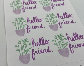 """Bamboo """"Hello, Friend"""" Envelope Seal Stickers- Cute Penpal Stickers - Envelope Seals - Penpal Mail"""