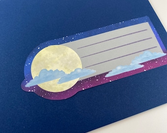Moon and Cloud Labels- Address Labels - Note Stickers- Pen Pal Address Labels - Pretty - Cute - Quirky - Celestial - Space - Galaxy