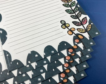 Moon Flower Stationery Sets or Paper Only- 3 Letter Writing Sets With Envelopes - Whimsical - Cute - Pretty - Colorful - Quirky - Snail Mail