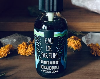 Winter Woods >> Coniferous Forest. Peppermint. Vetiver. Snowfall. >> Eau de Parfum Spray 1 oz >> Botanical Fragrance
