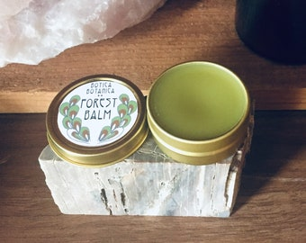 Forest Balm >> All-purpose balm infused with wildcrafted botanicals >> .25 or .5 oz gold tin