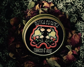 Tobacco & Rose -- Tobacco. Rose. Leather. Vetiver. Natural Botanical Solid Fragrance 7.5 ml