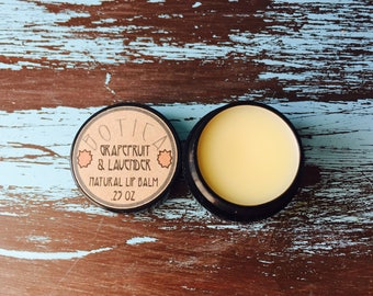 Grapefruit & Lavender -- Natural Lip Balm -- Un-tinted -- Long-lasting, soothing, moisturizing.