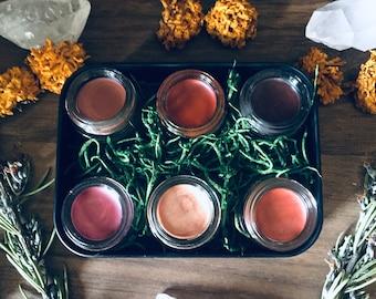 Lip & Cheek Tint Set -- Choose 6 Colors -- Natural Handmade -- 3.5 ml Glass Jars