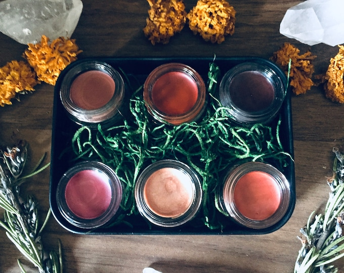 Featured listing image: Lip & Cheek Tint Set -- Choose 6 Colors -- Natural Handmade -- 3.5 ml Glass Jars