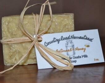 Handmade Goats Milk Soap-Oatmeal & Honey 3oz