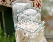 Glass Square Organization Jars - For Our Wood Storage Boxes - Perfect for Bathroom Organizers - Craft Room Organization - Desk Organization