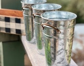 Tall Galvanized Metal Pail - For Our Wood Storage Boxes - Perfect for Bathroom Organizers - Craft Room Organization - Desk Organization