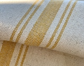 Grain Sack Fabric by the Yard - Ticking Fabric - French Country - Cottage Farmhouse Style - Yellow Stripes - 54 quot Wide -1 to 12 YD. Cuts