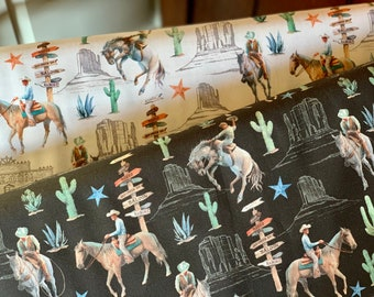 Cowboys in Cream and Night from Desert Cowboy Collection by Windham Fabrics - 100% Cotton - Horse Fabric - Southwest Fabric - Cowboy Fabric