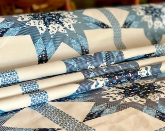 """FABRIC Quilt Top - 90"""" Wide Cheater Quilt Top Calico 100% Cotton - By the Yard - FREE SHIPPING"""