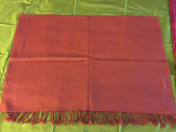 Woven Lambs Wool Merino Wool stole shawl scarf. In solid plain brown color. Extremely soft and warm.