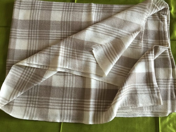 Plaid Scarf Shawl Wrap in white with light brown checks all over the body. An all-season wear in pure wool.