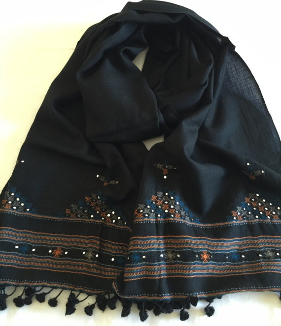 Embroidered Sheep Wool stole shawl wrap scarf woven in black with mirror work embroidery. An exclusive work in Gujarat Bhuj style