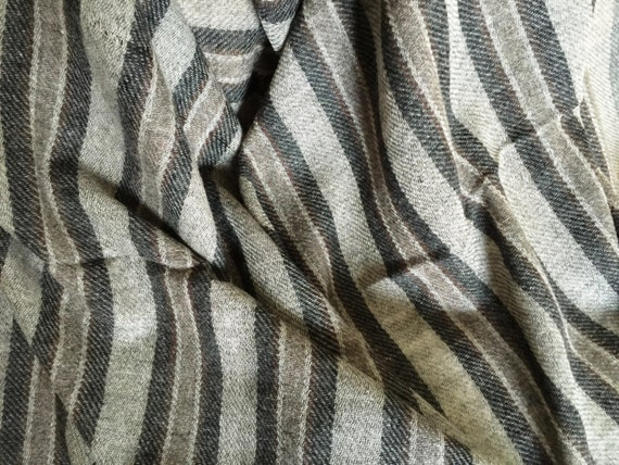 Gray stole shawl wrap scarf with dark gray & brown striped woven in soft lightweight Sheep Merino wool hand woven