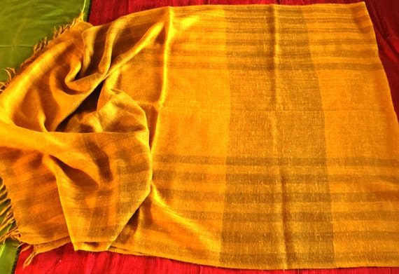 Striped yellow stole shawl wrap scarf in soft lightweight Sheep Merino wool