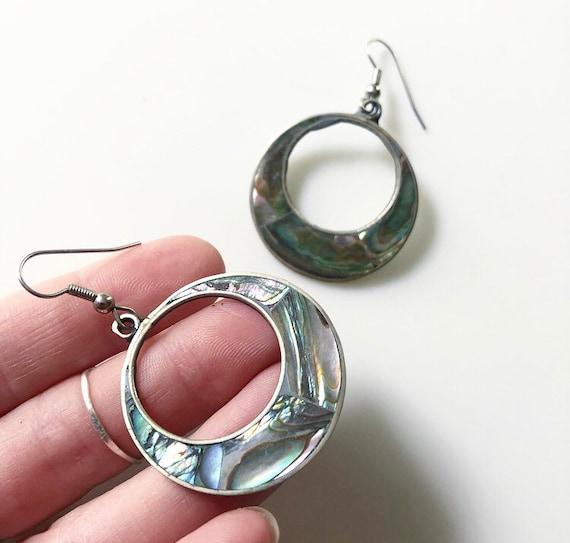 Mexican Abalone Hoop Earrings