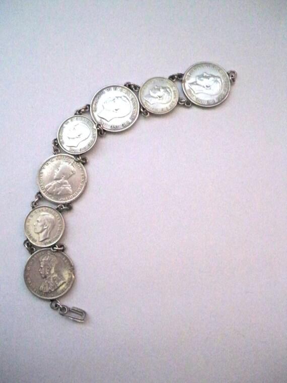 WWII Sweetheart Bracelet. Australian Silver Coins.