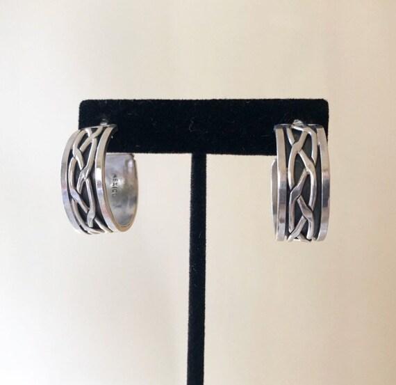 Mexican Sterling Hoop Earrings