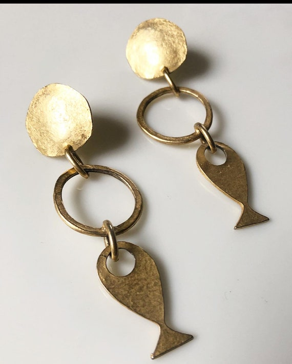 Brushed Gold Modernist 1980s Statement Earrings - image 1