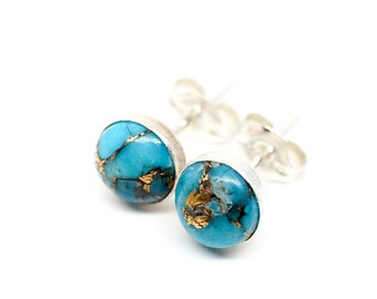 fa9749b2a Turquoise Copper Infused 925 Sterling Silver Ear Stud Earrings - 6mm round  | Womens Mens Unisex | Single or Pair | Minimal Jewelry